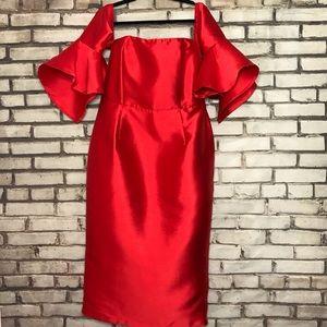 ASOS Red Formal Midi Off Shoulder Evening Dress 14